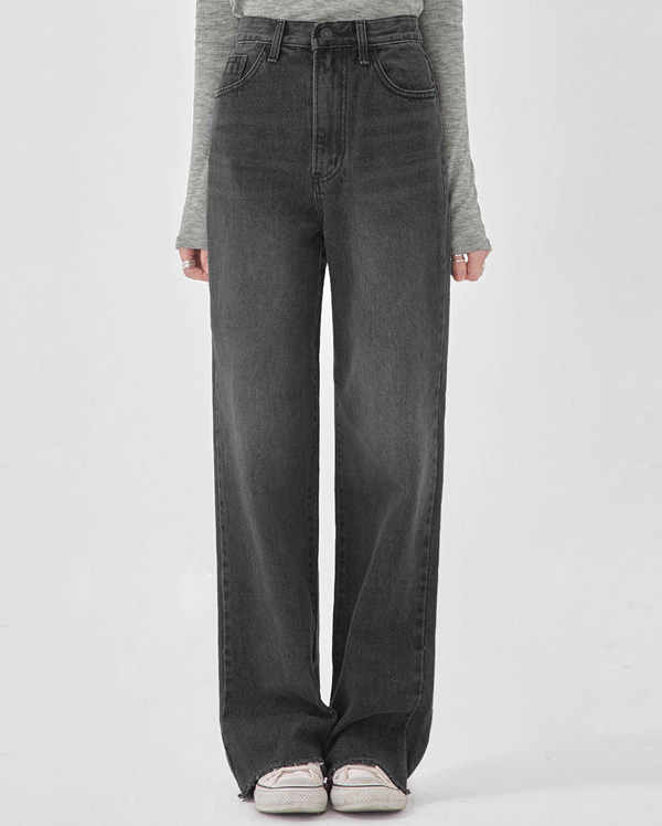 black long wide denim pants (s, m. l)