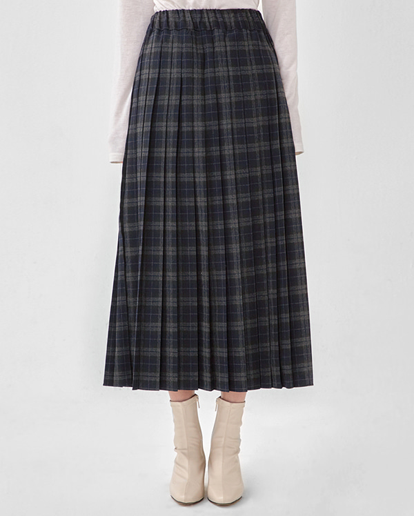 by see check banding pleats skirt