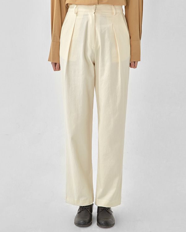 george pintuck cotton wide pants (s, m)