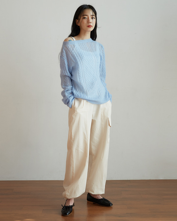 flow see-through mohair knit