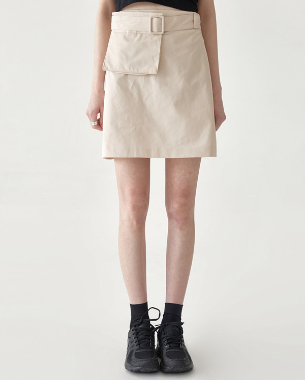 pocket belt mini banding skirt
