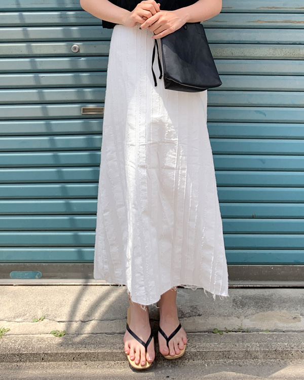 marine cutting linen long skirt