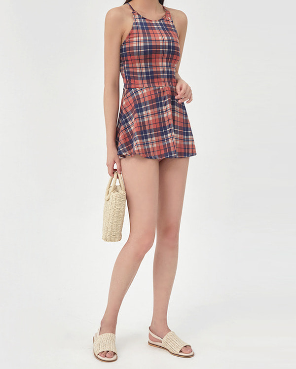 tennis check skirt monokini