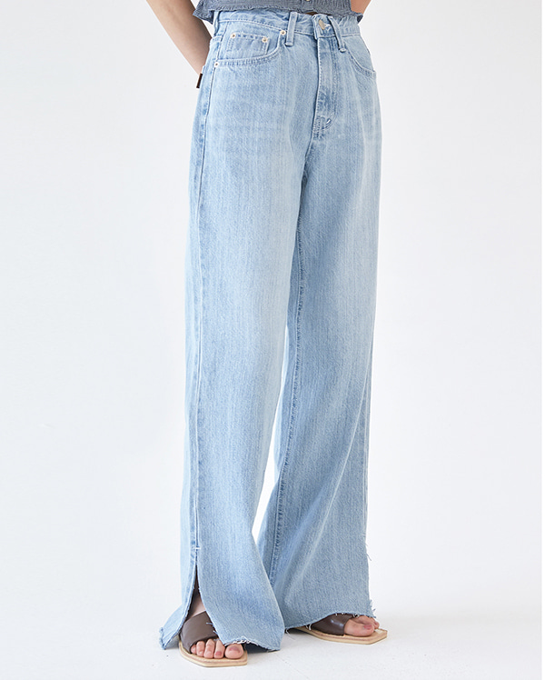 slit loose denim pants (s, m)