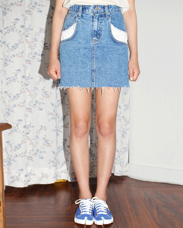 denim cutting cotton skirts (s, m)