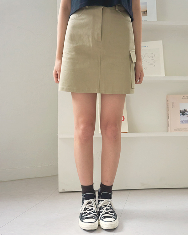 olive cotton mini skirts (s, m)