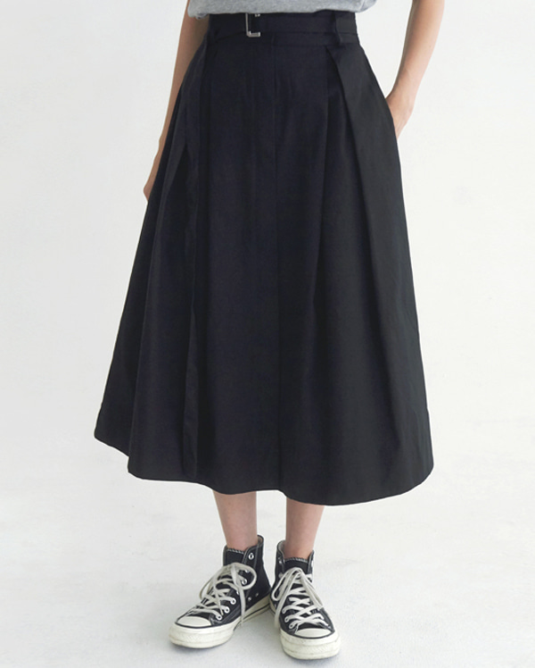 a zipper long flare skirt