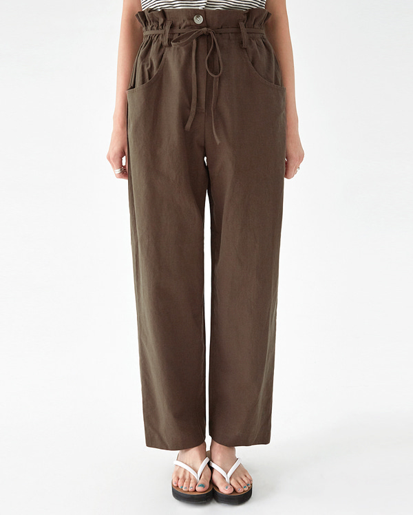 camel linen wide pants