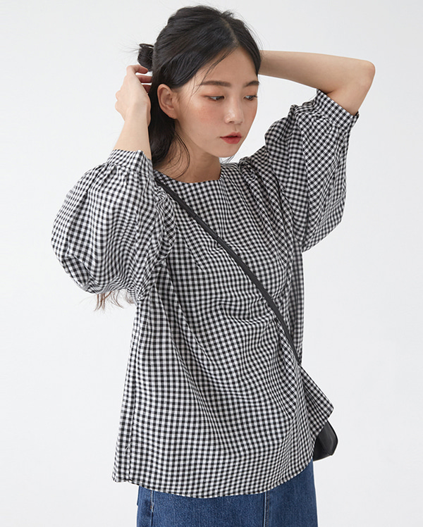 safe roll check blouse