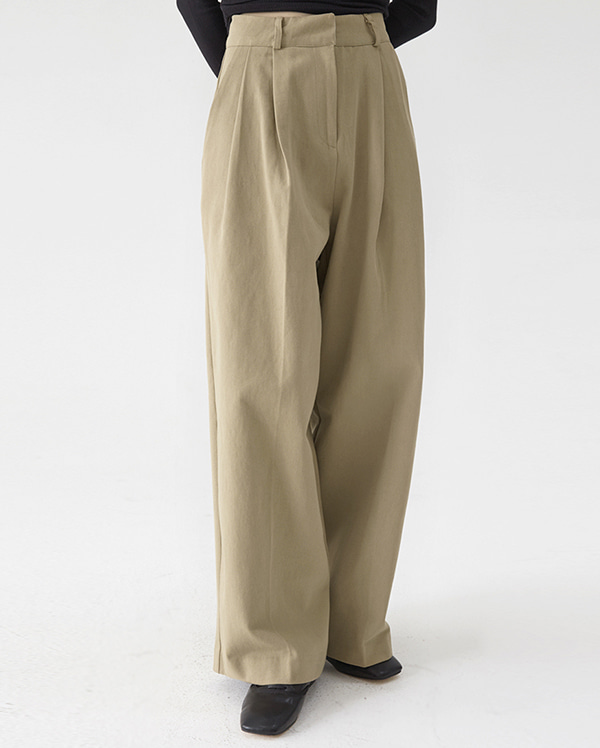 twill cotton wide pants (s, m)