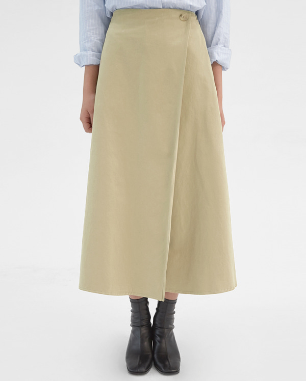 moon button long skirts