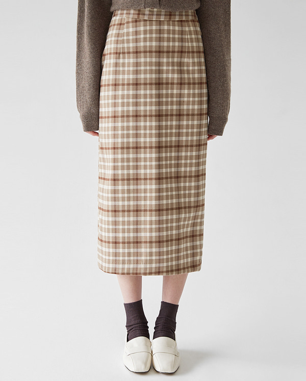 vintage check long skirt (s, m)