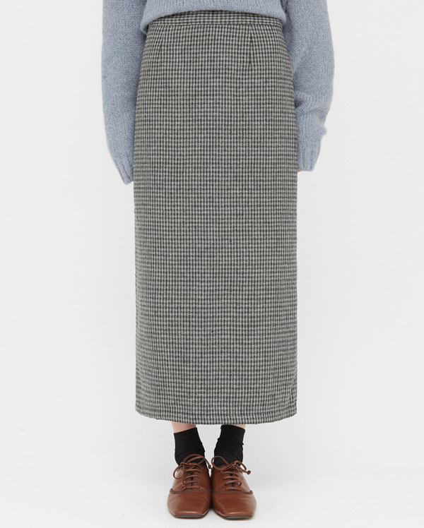 warm check long skirts (s, m)