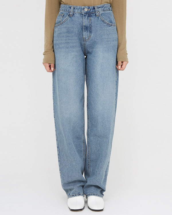 uncovered long denim pants (s, m)