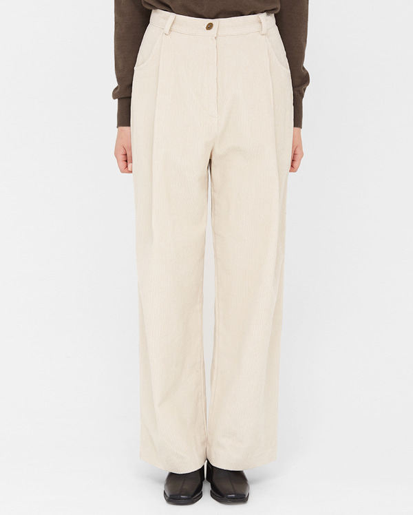 add corduroy wide pants (s, m)
