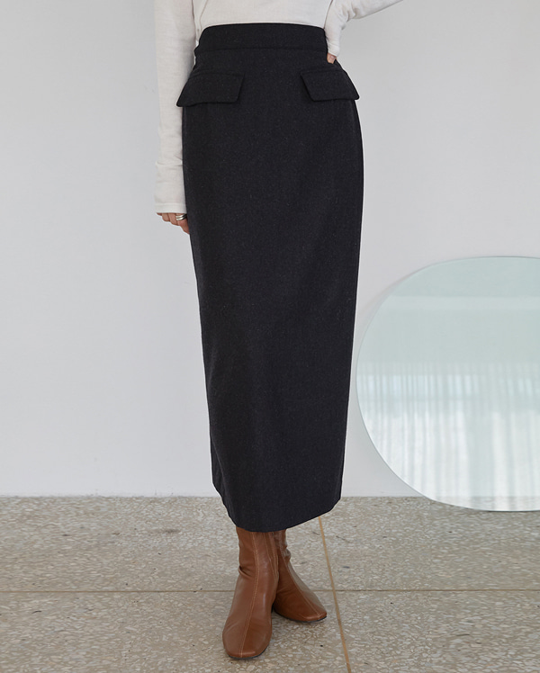 french wool long skirt