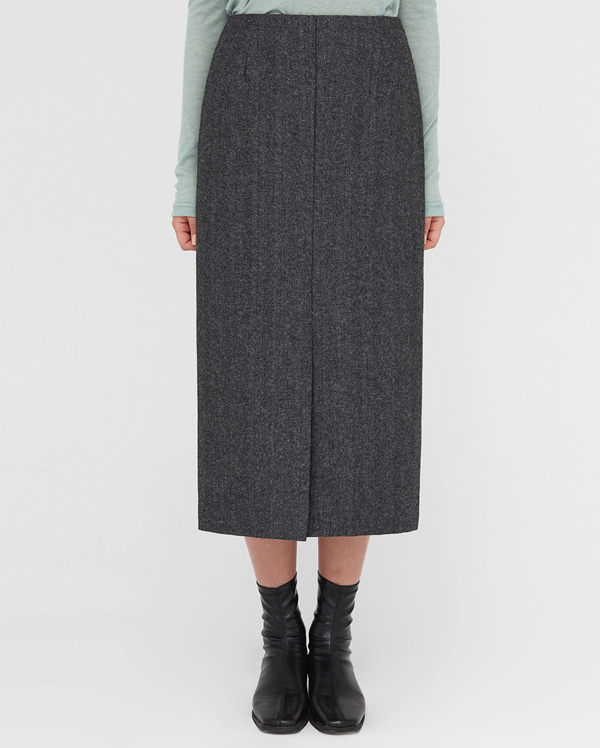 front slit wool skirt (s, m)