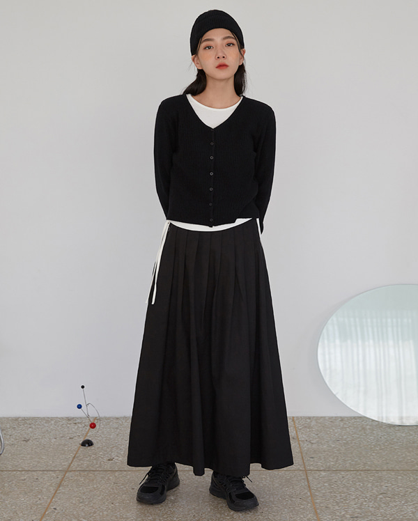 strap button flare long skirts