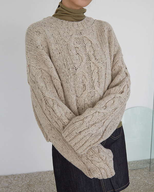 volly cable crop knit