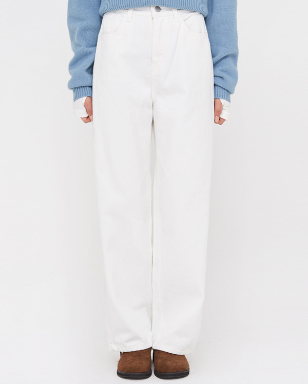 a white cotton straight pants (s, m)