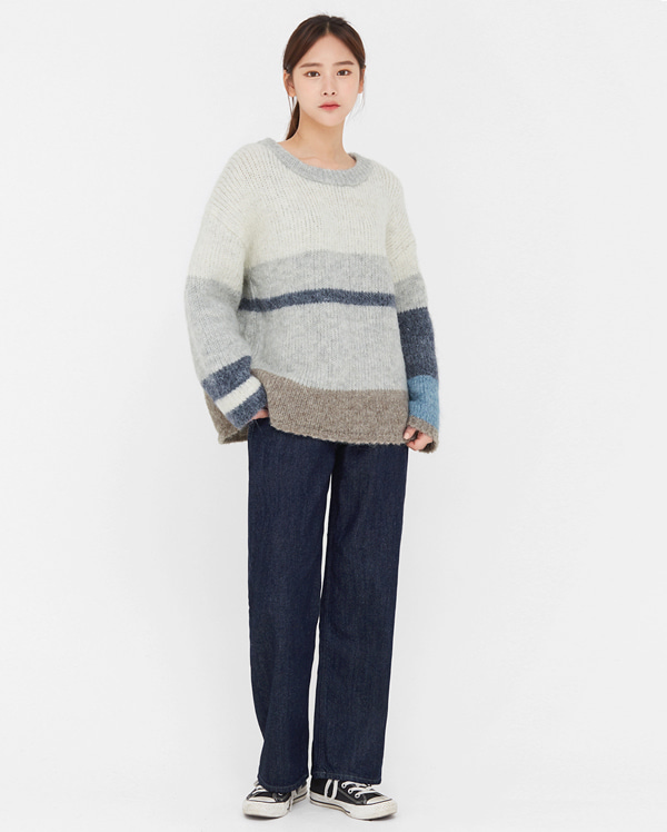 bore striped color wool knit
