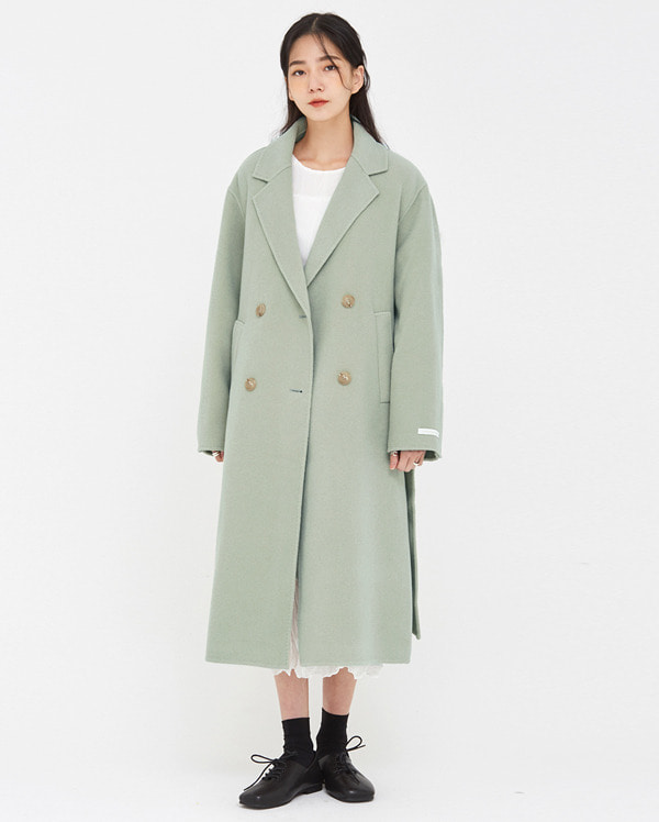 stitched napping wool handmade coat