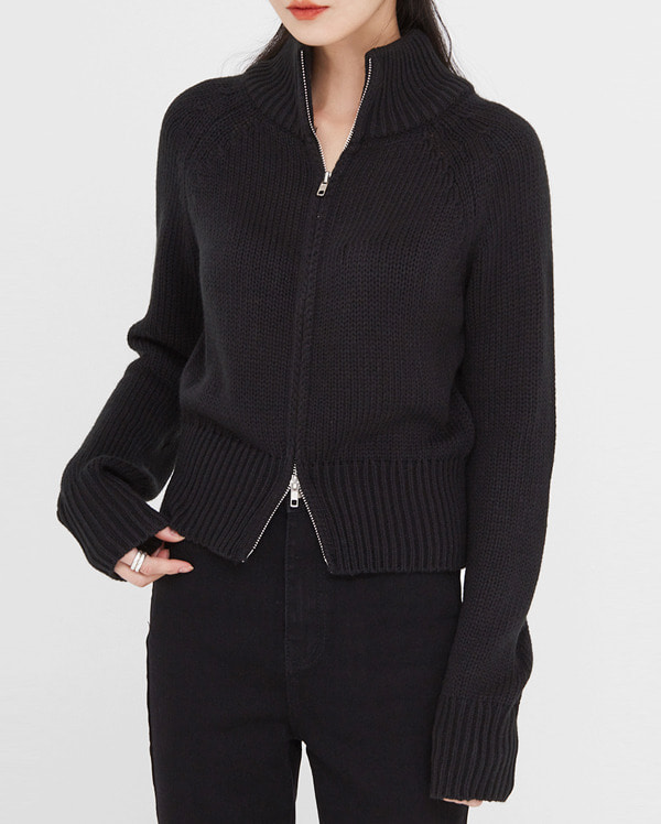super two way zip-up knit