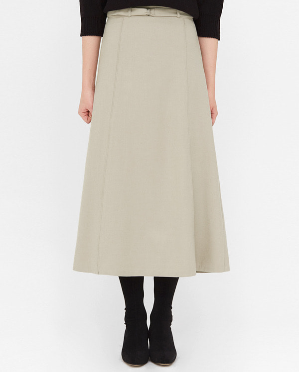 nuts belt flare long skirts