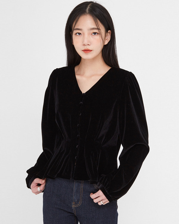 in lovely velvet shirring blouse