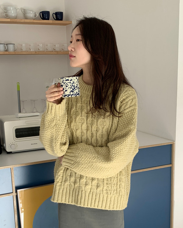brunch pastel cable round knit