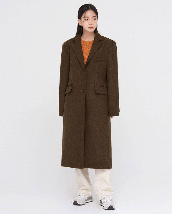 clean wool napping belt coat