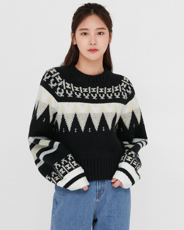 by kong pattern crop knit