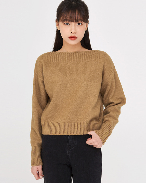 for crop boat neck knit