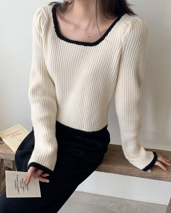 hey feminine square neck knit