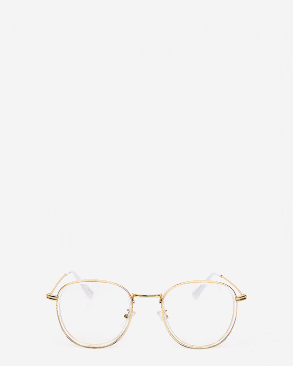 clear frame gold rimmed glasses