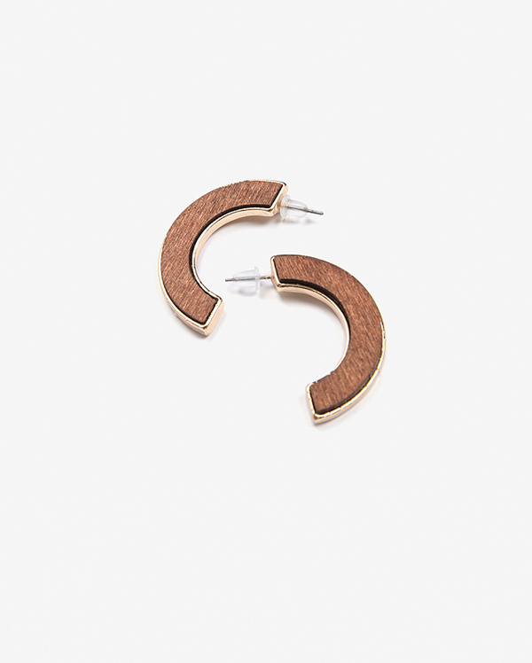 brown half circle earring