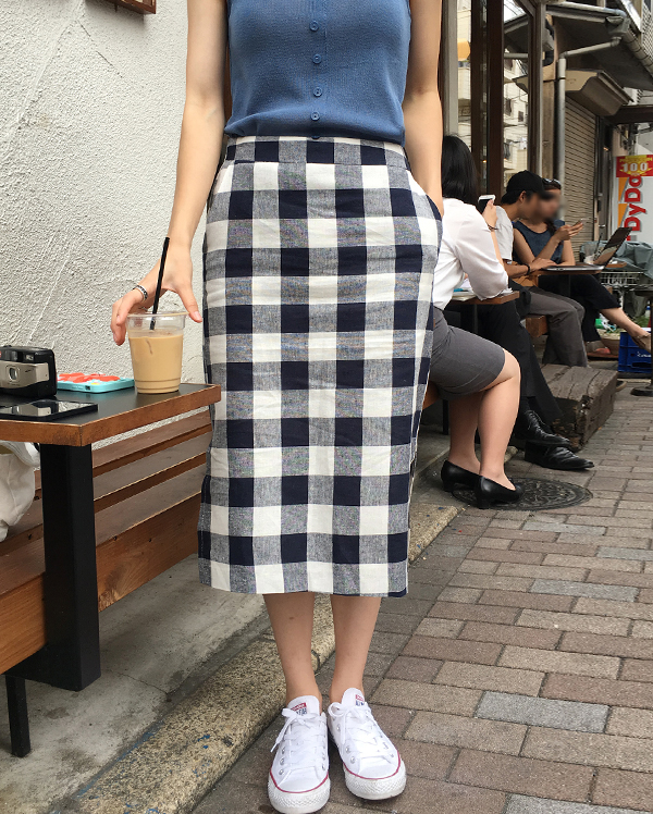 big check H-line skirt