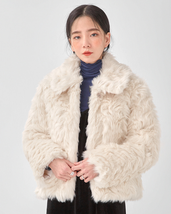 cream petit fur jacket