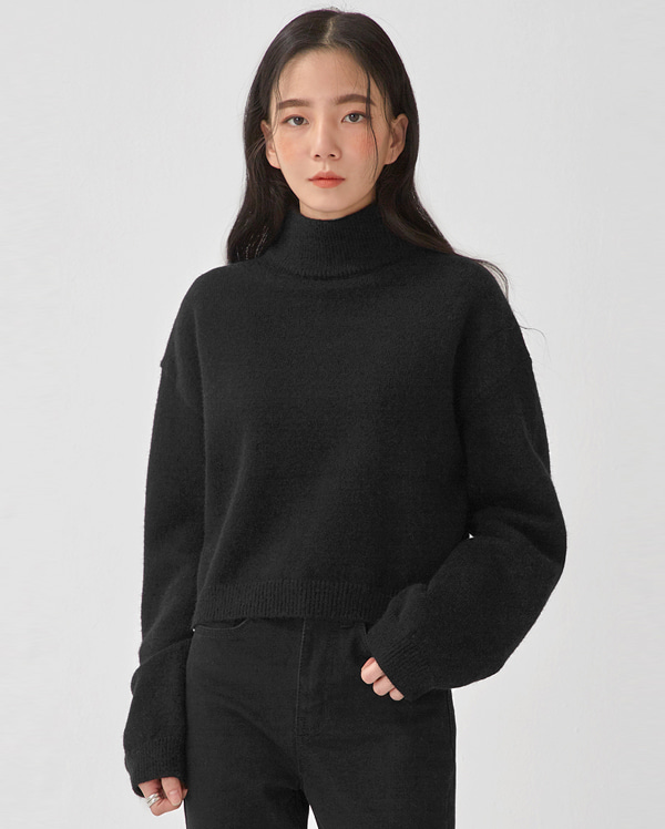 mavel half neck crop knit