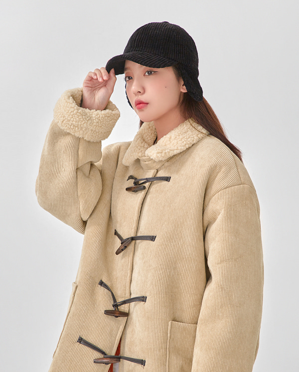 living corduroy duffle coat