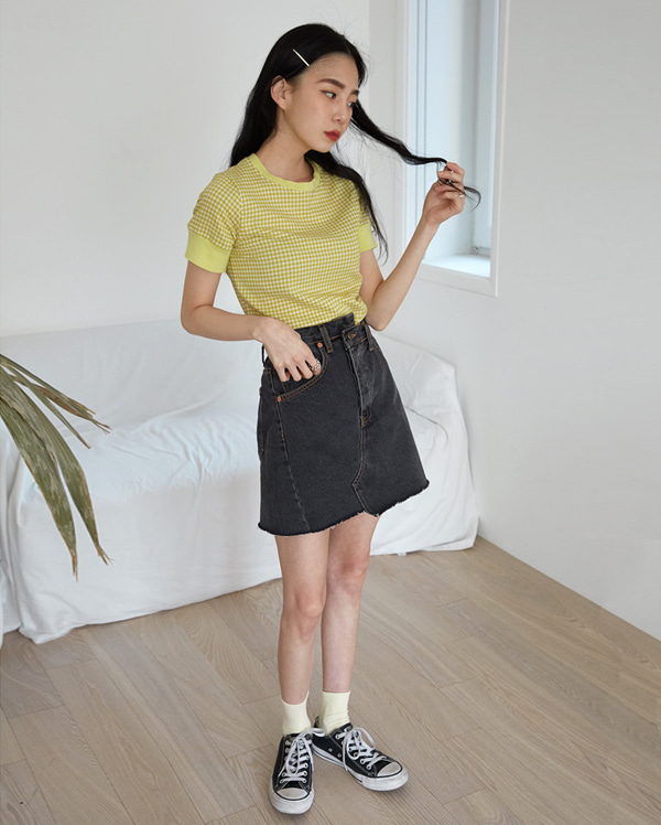 use hidden button mini skirt (s, m)