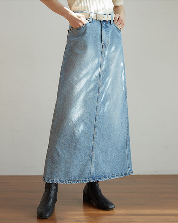 little denim long skirt (s, m)