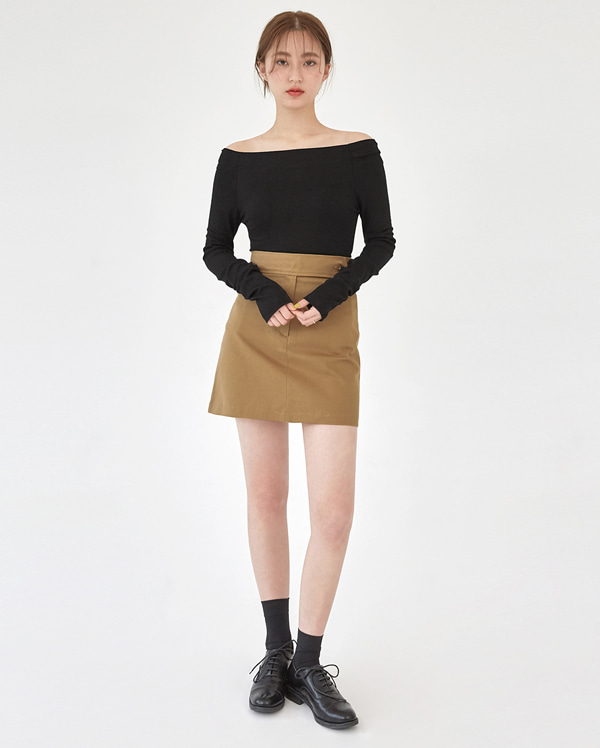 closer button mini skirt (s, m)