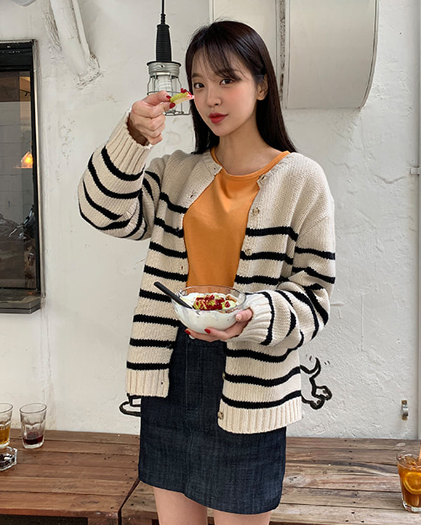 mark stripe wool knit cardigan