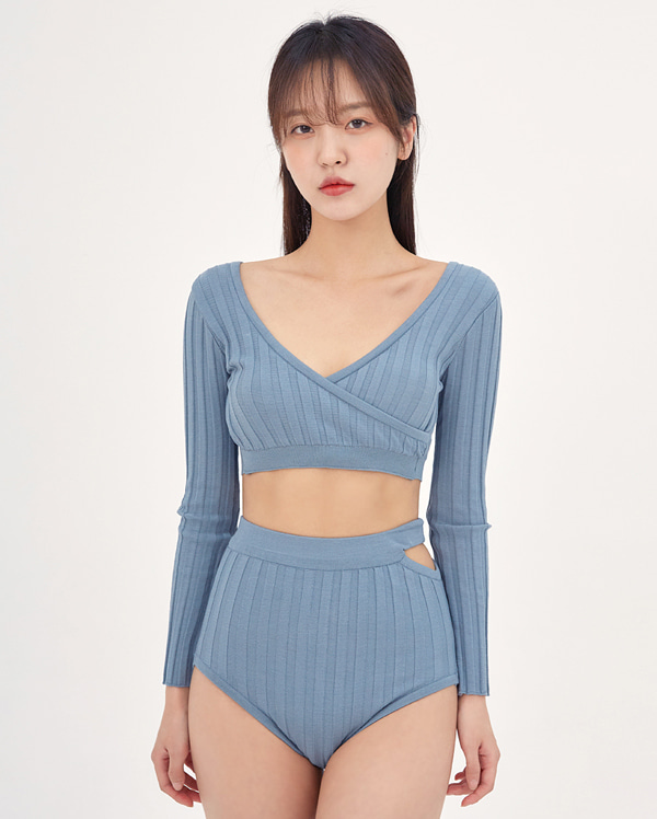 holy diagonal knit bikini