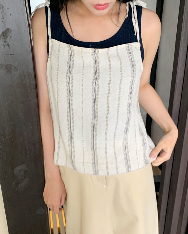 stripe linen string sleeveless