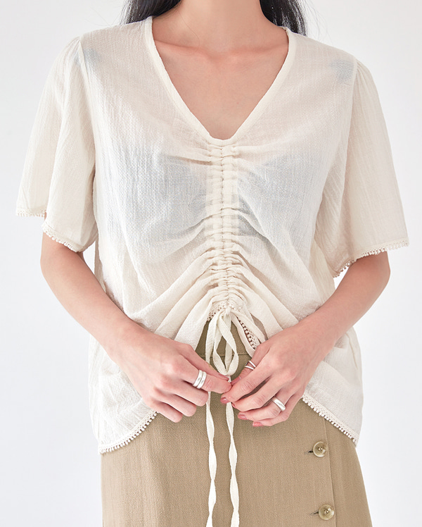 linen pure lace shirring blouse