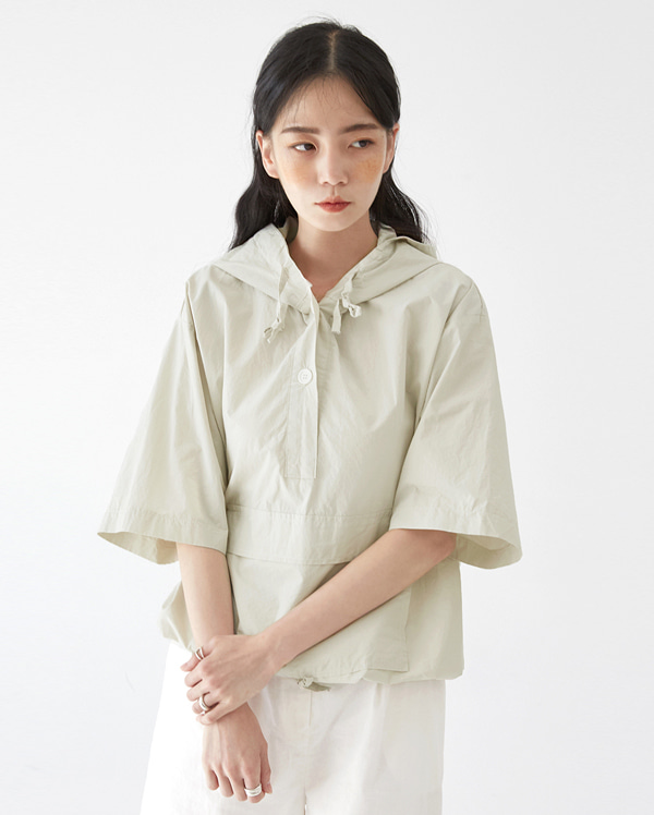 nov hood button anorak blouse