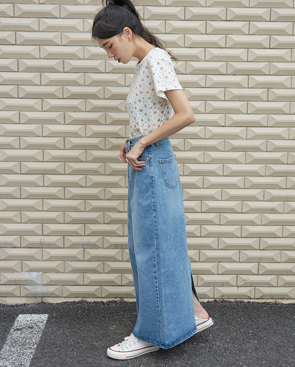 kiti long denim skirt (s, m)