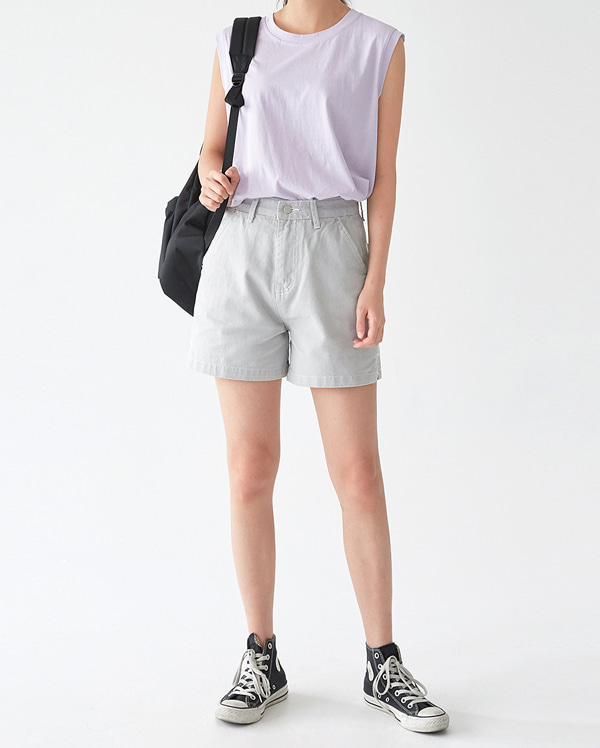 gray cotton short pants (s, m)
